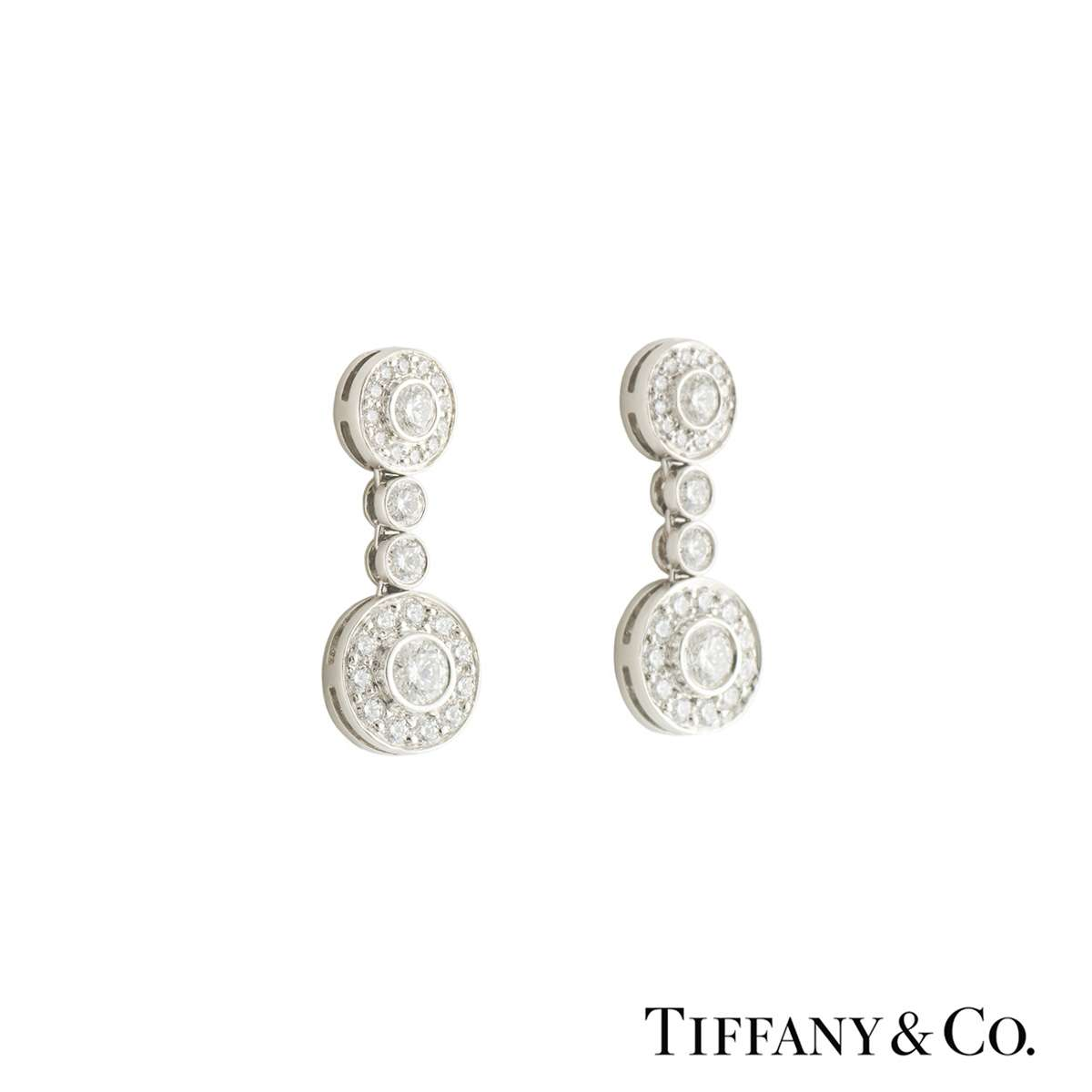 Tiffany & Co. Platinum Diamond Circlet Earrings 1.18ct G+/VS+